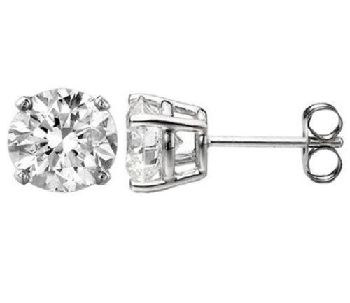 0.10 ct D SI1 ROUND CUT DIAMOND STUD EARRINGS 14K WHITE gold