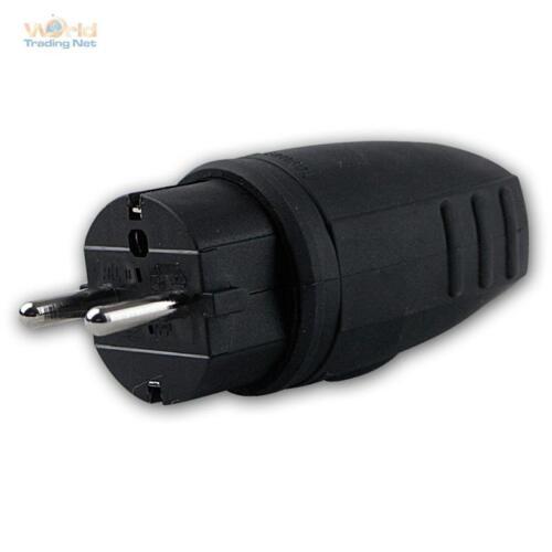 Schuko Gummi-Stecker schwarz IP44 Schukostecker Gummistecker 3x1,5mm² 250V//16A