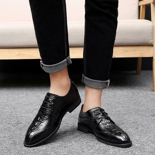 Details about  /British Mens Faux Leather Business Leisure Shoes Work Office Crocodile pattern L
