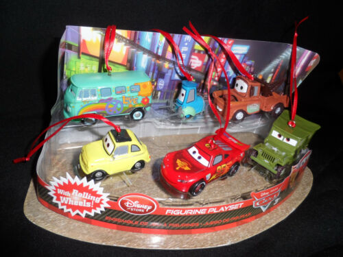 Disney Authentic Cars Christmas Ornaments 6pc Set Lightning McQueen Tow Mater