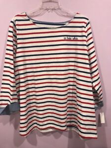 05a5652198 Talbots 2x Top Womens Plus Size Top Blouse Shirt Striped Red Navy ...