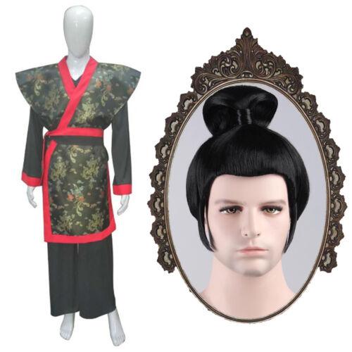 Cosplay Japonais Guerrier Samouraï Ninja Deluxe Costume Kimono Chignon Perruque set complet