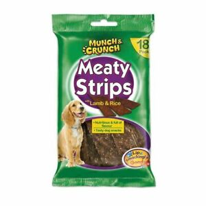Munch-amp-Crunch-Dog-Treat-Lamb-amp-Rice-Meaty-Strips-Pack-of-18-162g