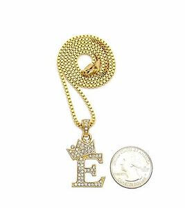 """Iced Out 14K Gold plated King Crown Letter /""""P/"""" Pendant /& 24/"""" Box Chain Necklace"""