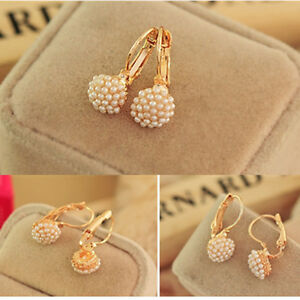 New-Fashion-Jewelry-Women-Lady-Elegant-Pearl-Beads-Ear-Hoop-Stud-Earrings