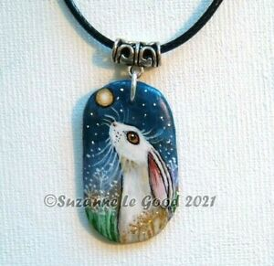 Moon gazing Hare pendant necklace painting original hand painted Suzanne Le Good