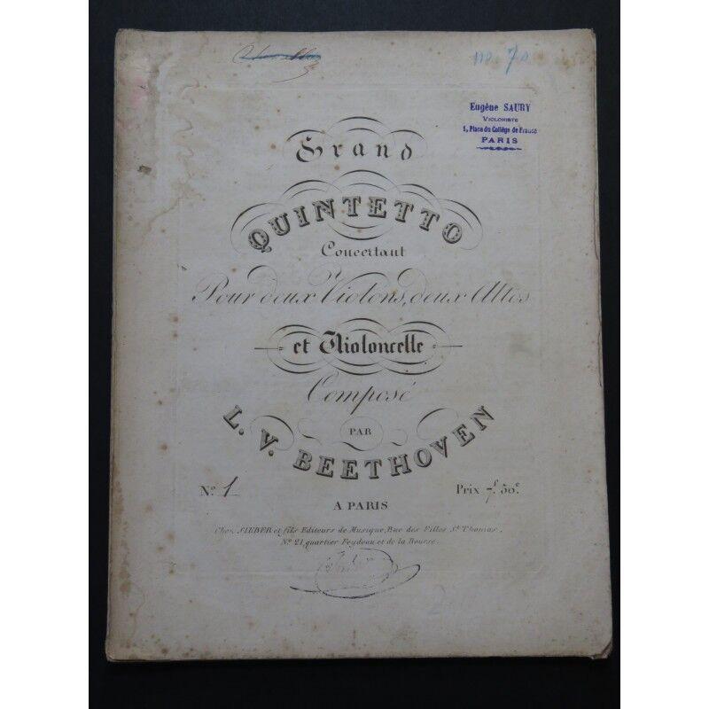 BEETHOVEN BEETHOVEN BEETHOVEN großer Quintetto op 4 Violinen Altos Violoncello ca1810 Partitur 01d834