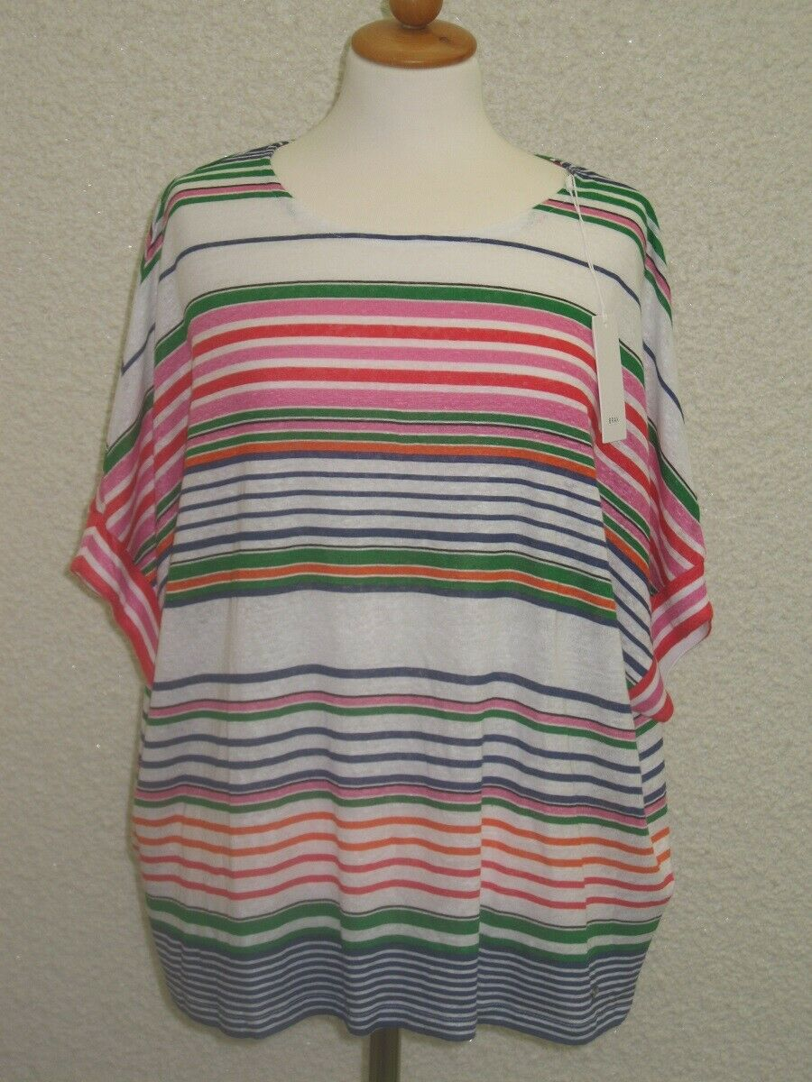 BRAX T- Shirt Leinen kurzarm angeschnitten mit  Streifendruck UVP  Neuware