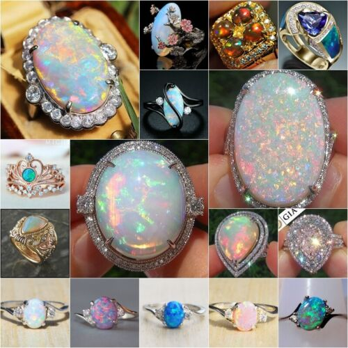Exquisite 925 Silver White Fire Opal Ring Woman Man Wedding Engagement Size 6-10
