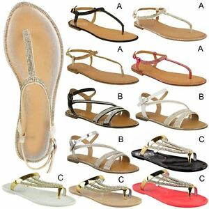 291e05b22 Image is loading Womens-Ladies-Flat-Strappy-Sandals-Diamante-Summer-Toe-