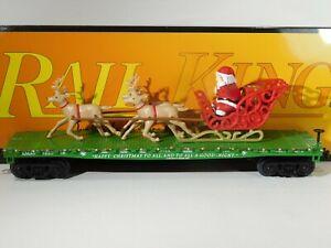 MTH-O-Rail-King-Christmas-Flat-Car-Santa-Sleigh-amp-Reindeer-30-76741-TOTES1