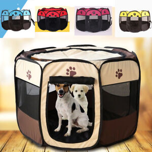 Details about Cute Pets Dog Cat Playpen Tent Portable Exercise Fence Kennel  Cage Folding Crate 61317eef4e44f