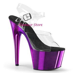 lanière plaqué 35 sexy violet de chrome à à talons en Sandales transparent 18 42 nqxWS8gZ