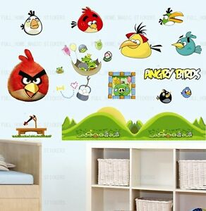 Angry birds nursery kids wall stickers reusable for Angry bird wall mural