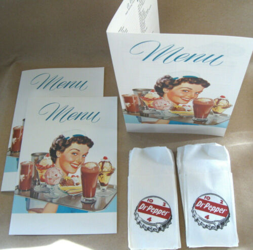 DR PEPPER NAPKINS and 3 SODA FOUNTAIN DINER MENUS for Round Top Dispenser Diner
