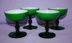 "4 Vintage Dessert Sherbet Cups ~ 3-3/4"" Tall ~ Footed Green & White ~ Beautiful"