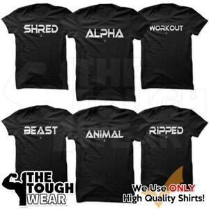 Gym-Men-039-s-Bodybuilding-T-shirt-Fitness-amp-Workout-Clothing-Muscle-by-Gym-Rabbit