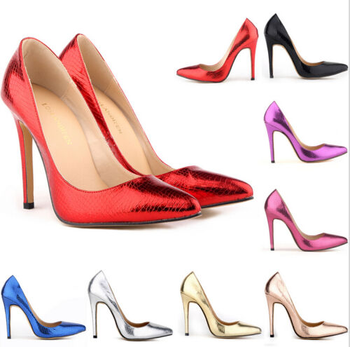 Evening Party Shiny High Heels Womens Pointed Toe Slip On Stiletto Pumps Shoes