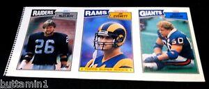 1987 Topps Football UNCUT 3 Card SHEET PANEL With JIM EVERETT Rookie Card #145