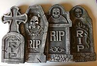 Lot Of 4 Halloween Tombstones Gravestones Marked Rip Foam Prop Decor