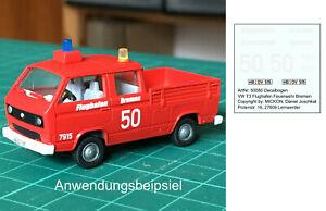 Mickon 50080 Decals VW T3 Doka Feuerwehr Bremen Flughafen passend Roco 1:87 H0