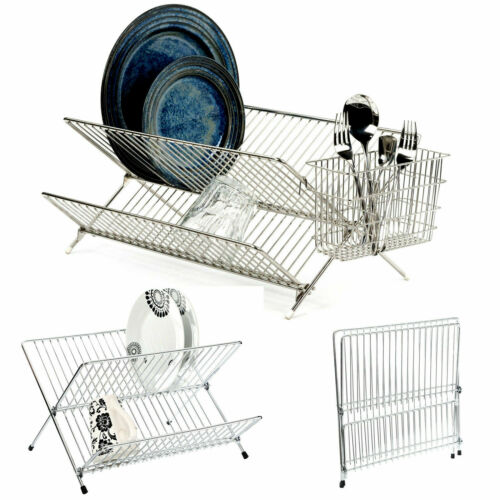 CHROME X SHAPE FOLDING SINK DISH DRAINER PLATE CUPS RACK CUTLERY CADDY KITCHEN