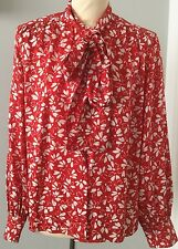 VINTAGE ROLI COUTURE PUSSY-BOW RED/WHITE 100% SILK FLORAL PRINT BLOUSE - SIZE 40