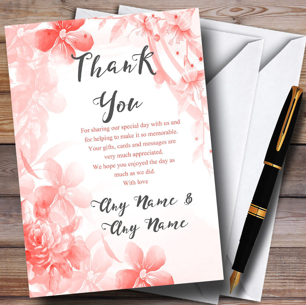 Coral Watercolour Floral Personalised Wedding Thank You Cards
