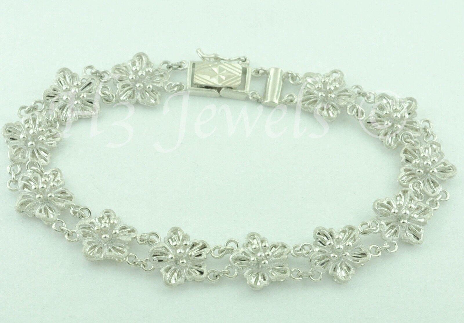 18k white gold diamond cut flower filigree bracelet 15.20 grams h3jewels