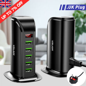 LCD-Display-UK-Plug-5-Ports-Smart-Phone-Charger-Multi-Desktop-Charging-Socket