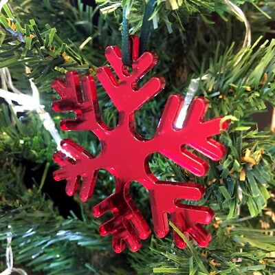 Enthousiast Icy Snowflake Xmas Decs & Green Ribbon, Pack Of 10, Gold, Red Or Silver Mirror