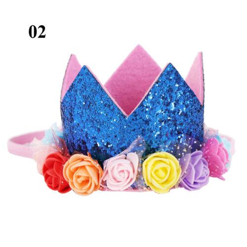 Kids Party Headwear Flowers Hair Band Party Shiny Birthday Crown Baby Headband
