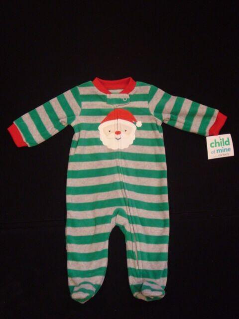 9d4de2ce62 Details about New CARTER S CHILD OF MINE Boys Sz 0-3 Month Santa Fleece  Footed Sleeper Pajamas