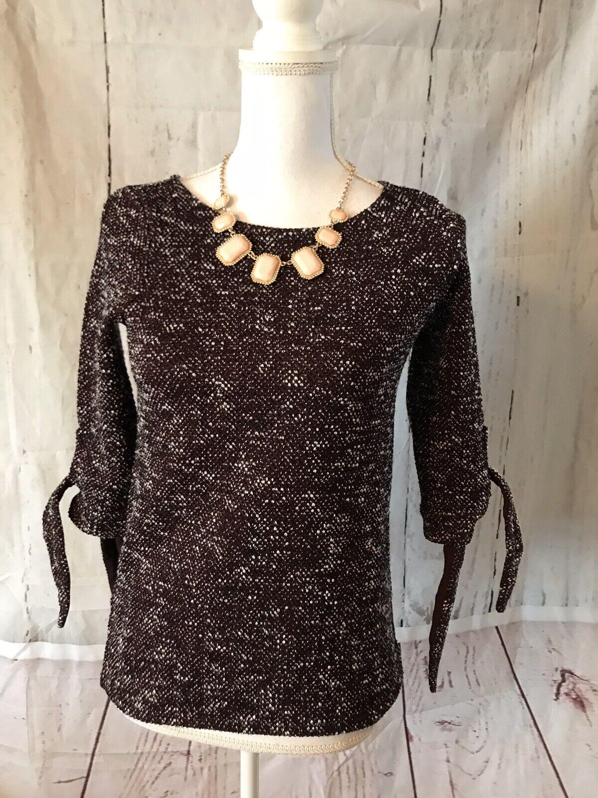 Ann Taylor XXS Petite Burgundy 3 4 Sleeve Melange Knit Bow Tie Top