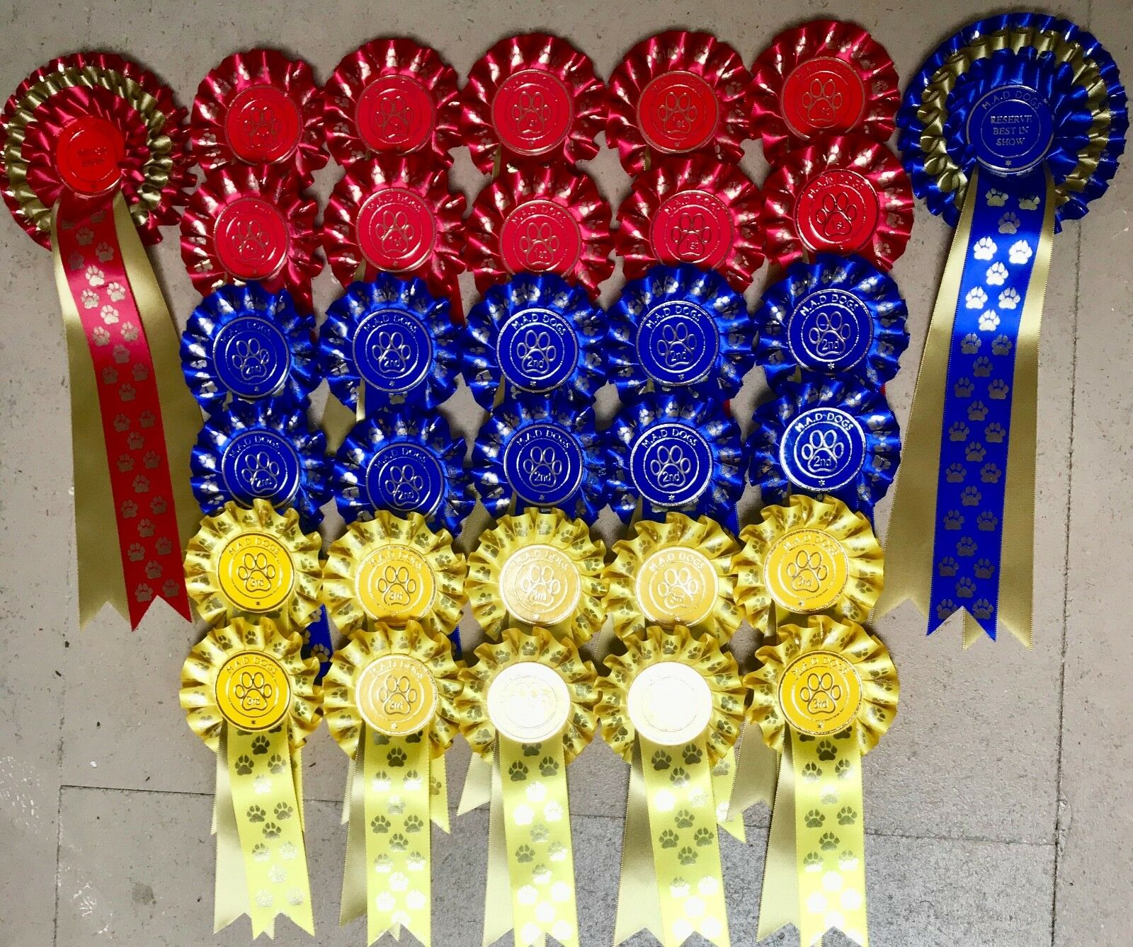 Dog Show pinkttes 10 x 1st to 3rd single PAWS plus BIS & RBIS 3 tier PAWS