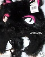 Journeys Furry Black Cat Knit Hat With Diva Eyes Osfm Faux Fur Free Ship
