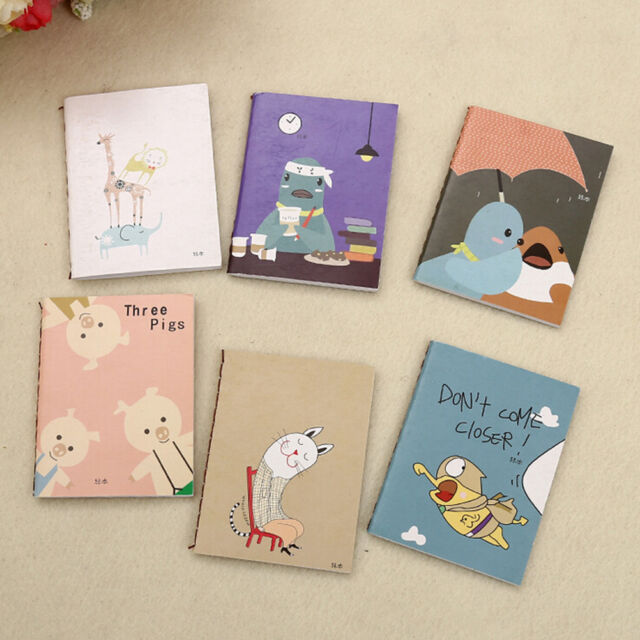 2x Mini Cartoon Notebook Handy Pocket Notepad Paper Journal Diary Portable C7N