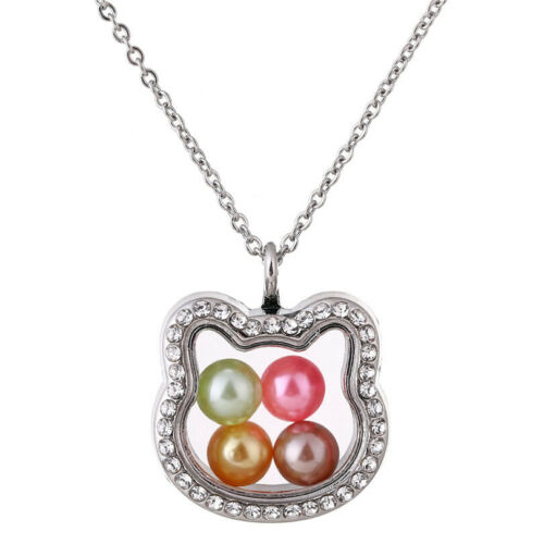 """K1391 Silver Color With Rhinestone Glass Magnetic Beads Cage Cat Necklace 20/"""""""
