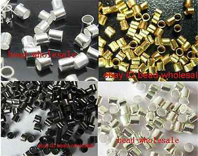 500pcs Golden/Dark Silver/Black Tube Crimp Fixed Cord End Spacer Beads 2mm