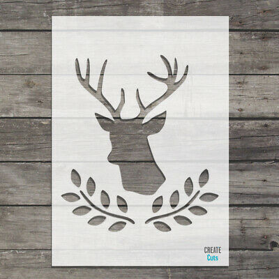 Deer Head Olive Laurel Stencil Stag Head Template Silhouette Craft
