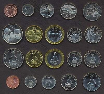 set 10 coins 1 5 10 20 50 Cent 1 2 5 10 25 Dollars 1997-2003 aUNC Zimbabwe