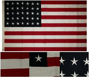ca218abccabb 3x5 Embroidered Sewn 35 Star Linear Great Union USA Cotton Flag 3 x5 ...