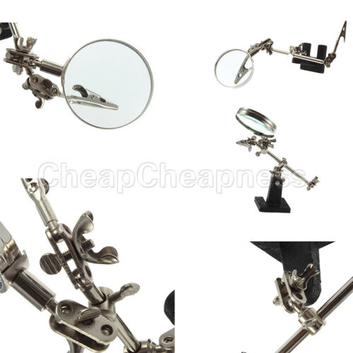 Enhanced Third Hand Soldering Iron Stand Holder Station Magnifier Tool Kit NIUS