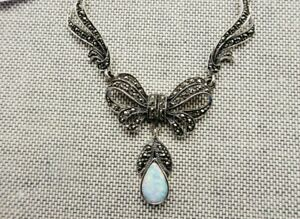 My S Collection 925 Sterling Silver, Marcasite & Opalite Bridal Bow Necklace