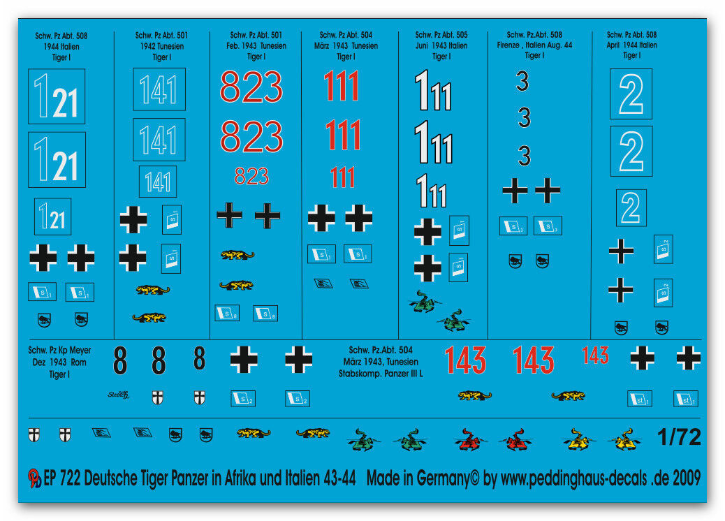 Peddinghaus 1 72 72 72 0722 Tiger I PANZER en Túnez y Italia 6fbf03