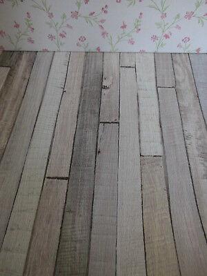"/""kalk-grau-weißer  Shabby-Chic-Vintage/""-Holzfußboden-TAPETE,Puppenstube,30cmx53"
