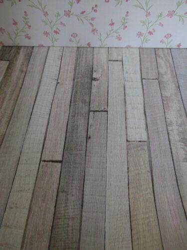 """/""""kalk-grau-pastell  Shabby-Chic-Vintage/""""-Holzfußboden-TAPETE,Puppenstube,30cmx53"""