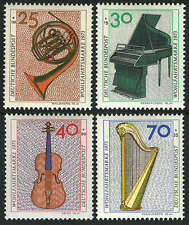 Germany B503-B506,MI 782-785,MNH.Musical Instruments:Horn,Piano,Violin,Harp,1973