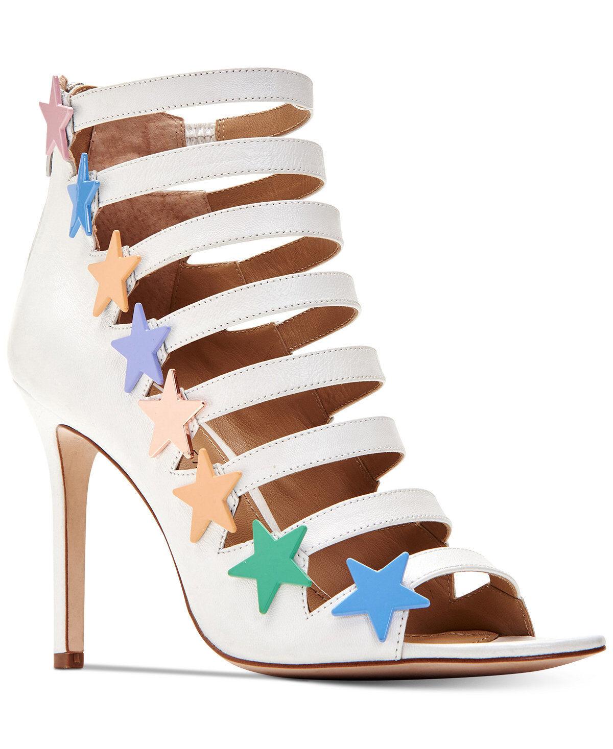 NIB Katy Perry Donna Stella Heeled White w Starts Studded Sandal Sz 8.5M  139