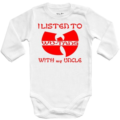 Baby bodysuit I LISTEN WU TANG with UNCLE red,girl kids,One Piece infant jersey
